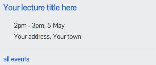 Upcoming Event widget screenshot