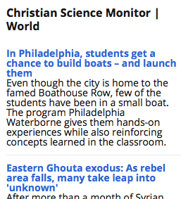 Screenshot Christian Science Monitor RSS feed widget