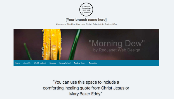 Christian Science branch website template Morning Dew by RedJanet Web Design